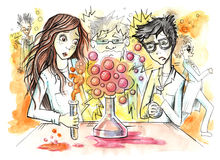 Dzieciaki wykonuje eksperyment w laboratorium ilustracji