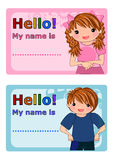 dzieciaki wymieniają etykietki Obrazy Royalty Free