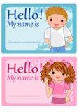 dzieciaki wymieniają etykietki Fotografia Stock