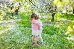 Dzieciaki z czereśniowego okwitnięcia kwiatem chłopcy tła Wielkanoc jajka miłych jaj trawy zielone świeżego ukryte hunt wyizolowa Zdjęcie Stock