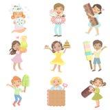 Dzieciaki Z Gigantycznymi cukierkami Inkasowymi royalty ilustracja