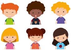 Dzieciaki z różnymi wyrazami twarzy ilustracja wektor