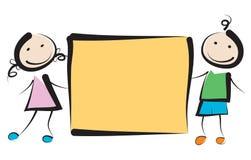 Dzieciaki z sztandarem Zdjęcie Stock