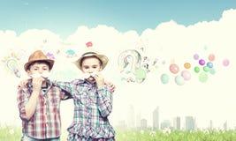 Dzieciaki z wąsy Zdjęcia Stock