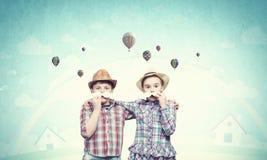 Dzieciaki z wąsy Zdjęcie Royalty Free