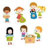 Dzieciaki Zbiera butelki dla Przetwarzają ilustracji