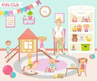Dziecina wektoru ilustracja Dzieciaka klub Płaski projekt Childr ilustracji