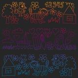 Dziecina wzór, rysujący dzieciaków ogrodowi elementy deseniuje, doodle rysunek, wektorowa ilustracja czarna, kolorowy, gradient royalty ilustracja