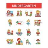 Dzieciniec ilustracja, cienkie kreskowe ikony, liniowy mieszkanie podpisuje ilustracja wektor