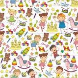 Dzieciniec pepiniery Preschool edukacja szkolna z dziećmi Doodle deseniowych dzieciaków bawić się dziewczyna dzieciaków i studiuj ilustracji