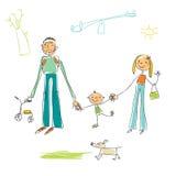 Dziecinna rysunkowa rodzina ilustracji