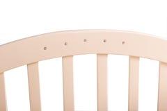 Dziecka łóżko drewniany na białym tle Zdjęcia Royalty Free