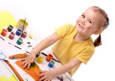dziecka śliczny ręk farby używać Fotografia Royalty Free