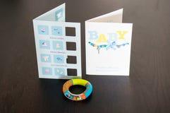 Dziecka życzenia urodzone karty Zdjęcia Royalty Free