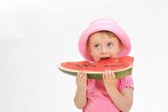 dziecka łasowania arbuz Zdjęcia Stock
