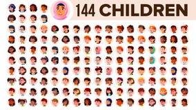 Dziecka Avatar Ustalony wektor Dziecko dziewczyna, facet Wielorasowy Stawia czoło Emocje Wielonarodowi użytkownika portreta ludzi ilustracji
