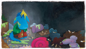 Dziecka błękita smok w śmieci Zdjęcie Stock
