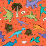 Dziecka bezszwowy tło z dinosaurami Fotografia Royalty Free