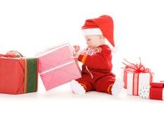 dziecka bożych narodzeń prezentów pomagier Santa Zdjęcie Royalty Free
