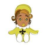Dziecka brązu oczy i brown włosy dziecko w żółtych jasnozielonych piżamach dziecko z żółtym koicielem Obrazy Stock