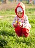 dziecka ciekawa target4492_0_ kwiatów dziewczyna Zdjęcia Royalty Free