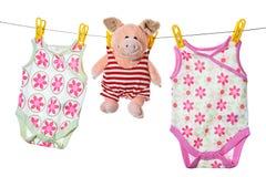 dziecka clothesline świni tajni agenci Zdjęcia Stock