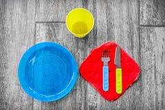 Dziecka cutlery kolorowy tło Obraz Royalty Free