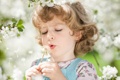 Dziecka dmuchanie na dandelion zdjęcia royalty free