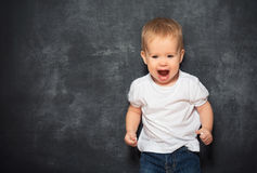 Dziecka dziecko i pusty Blackboard Fotografia Stock