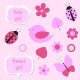 dziecka elementów dziewczyny menchii scrapbook set Zdjęcie Royalty Free