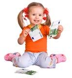 dziecka euro pieniądze pomarańczowa koszula t Fotografia Royalty Free