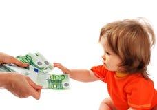 dziecka euro pieniądze Obrazy Royalty Free
