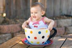 dziecka gigantyczny dziewczyny teacup Obrazy Royalty Free