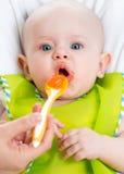 Dziecka karmienie z łyżką Obraz Royalty Free