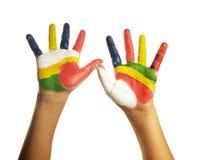 dziecka koloru ręka malująca Fotografia Royalty Free