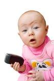 dziecka komórka odizolowywający telefon zaskakujący obrazy stock