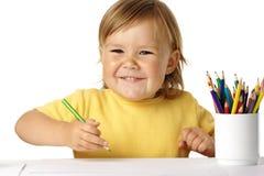 dziecka kredek szczęśliwy sztuka uśmiech Fotografia Royalty Free