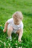 dziecka kwiatów dziewczyny trawy target682_0_ Zdjęcie Stock