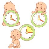 Dziecka Ma?y dziecko z zegarami dziecko czas ilustracji