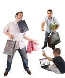 dziecka mężczyzna online zakupy dwa Obraz Stock
