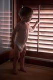 dziecka niewidome chłopiec pieluszek sztuka drewniane Obraz Stock