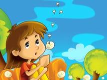 Dziecka obsiadanie na łące między dandelions - ilustracja wektor