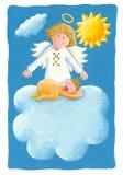 Dziecka ochrzczenie - dziecko na chmurze z aniołem ilustracji