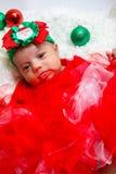 Dziecka pierwszy Bożenarodzeniowy photoshoot Fotografia Stock
