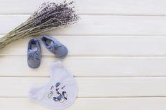 Dziecka pojęcie z gałąź i śliniaczkami fotografia stock