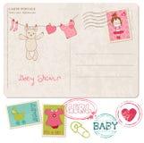 Dziecka Prysznic Karta z setem znaczki Zdjęcie Stock