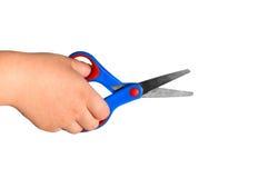 dziecka ręki mienia papieru nożyce Obrazy Stock