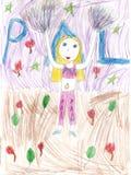 Dziecka rysunkowa dancingowa cheerleading dziewczyna Zdjęcie Stock