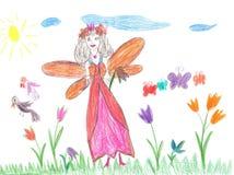 Dziecka rysunkowy czarodziejski latanie na kwiacie Zdjęcie Stock