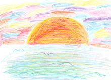 Dziecka rysunku kolorowy zmierzch Zdjęcia Royalty Free